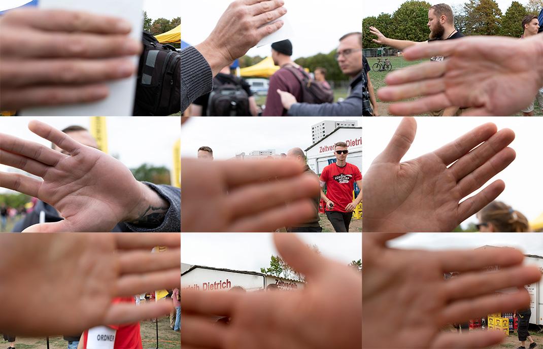 Ordner und Teilnehmer einer Kundgebung der rechtsextremen »Identitären Bewegung« behindern Journalist_innen